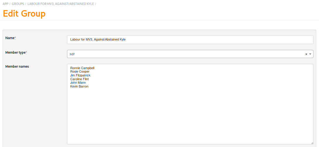 Grouping MPs for a custom template